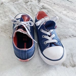 Toddlers Girls Converse Tennis Shoes Pink Navy 10